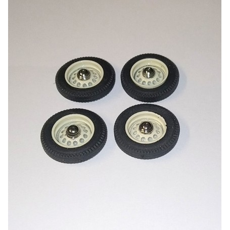 Panhard - 4 complete wheels - ivory - ech 1:43