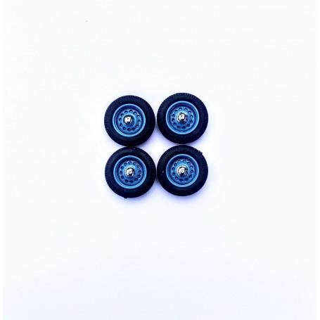 Panhard - 4 complete wheels - blue - ech 1:43