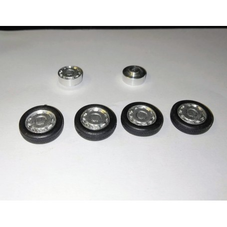 4 complete wheels - rims Ø9.50 mm + insert + tires - ech. 1/43