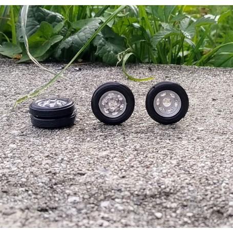4 Complete Wheels - Diam. 18.20mm - ech. 1:43 - White Metal