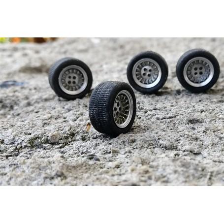 4 complete wheels - rims Ø9.50 mm + insert + tires - ech. 1:43