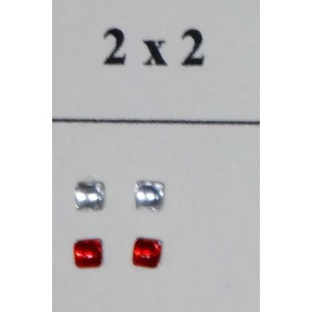 2 square headlights - Self-adhesive - Translucent