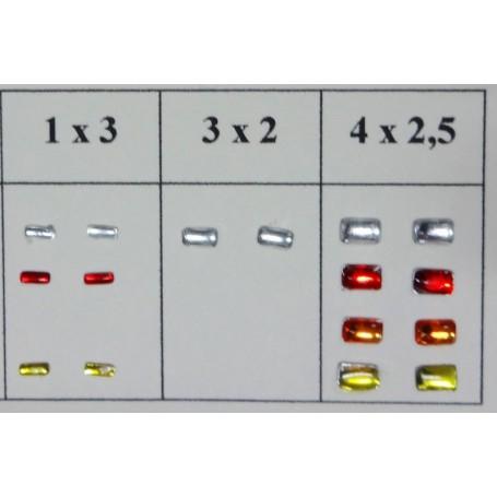2 rectangular headlights - Self-adhesive - Translucent