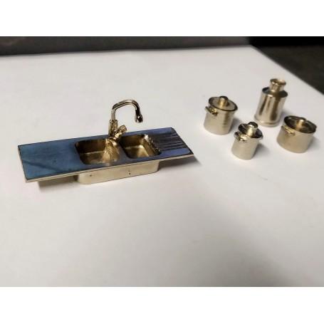 Sink + Faucet + Marmits - White Metal - 1 / 43th