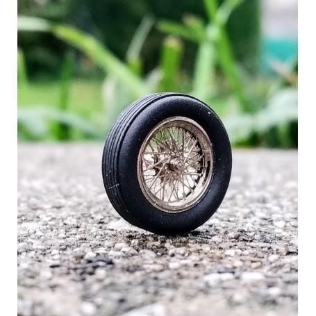 4 Complete Wheels Ø 14.60 mm - Chrome Brass - ECH 1:43