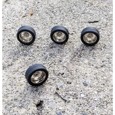 4 Wheel Wheels Ø 13.80 mm - Chrome Brass - Ech 1:43