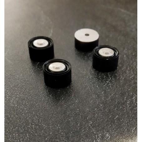4 Black Wheels in Peugeot 401 - Diam. 13mm - ech. 1:43
