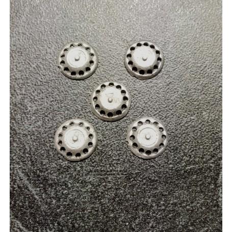 5 inserts in White Metal - Ø 9 mm - ech. 1:43