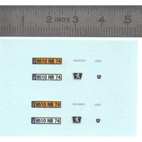 "Decal ""Peugeot 206"" registered Haute-Savoie - ech 1/43"