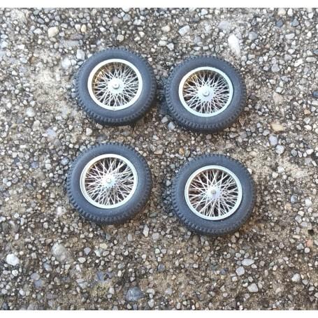 4 wheel comprehensive wheels Ø 18 mm - chrome brass - ech 1:43