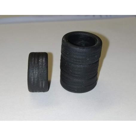 Flexible resin tires Ø interior 9.50mm - 1 / 43th - Lot of 4