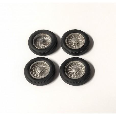 4 Wheel Wheels Ø 18 mm - Chrome Brass and Painted - Ech 1:43