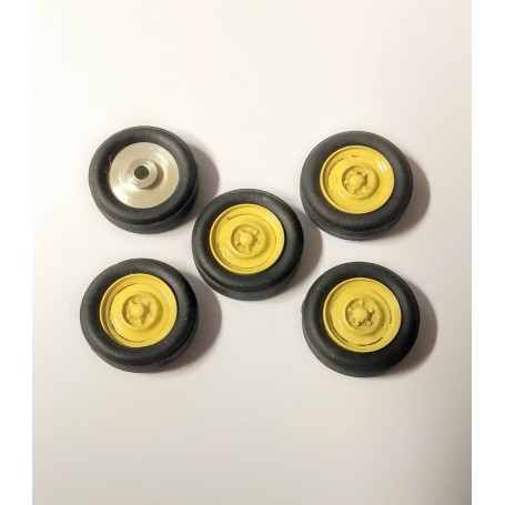 5 Complete Wheels - Yellow - Alu and White Metal - Ech 1:43