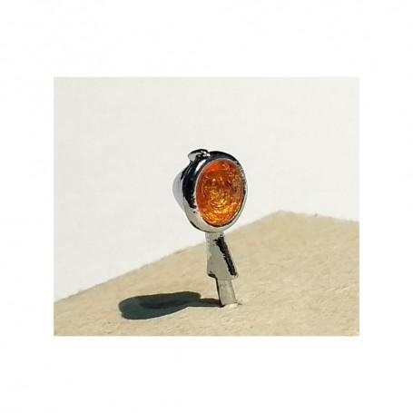2 headlights Ø6 mm - Orange - White Metal - 1:43